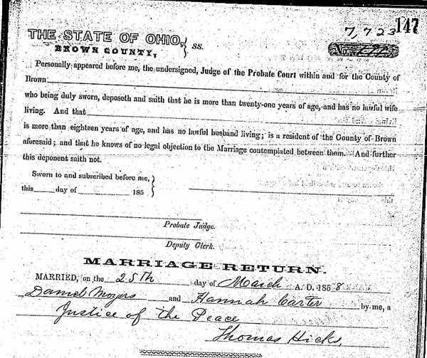 Probate Court, Brown County, Ohio, &quot;Marriage Records, 1818-1939&quot;, 1857-1860, vol. 1, p. 147, no. 7723, for Daniel Moyer-Hannah Carter;