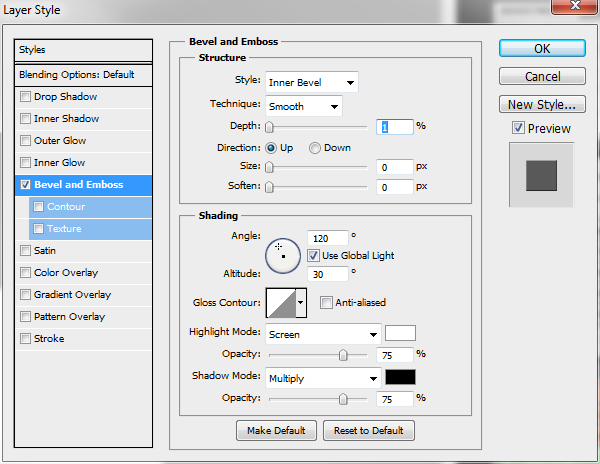 Blending Option > Bevel and Emboss