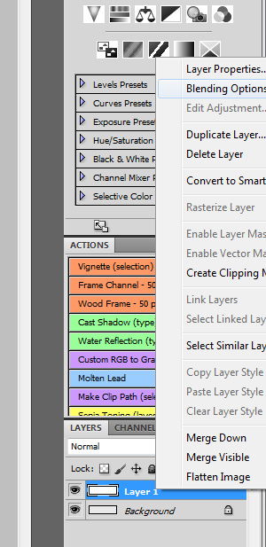 I use the 'Blending Options' selection in PhotoShop